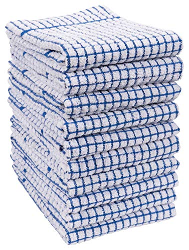 KAF Home Set Of 10 Grid Terry Kitchen Towels 20 X 30 Inches 100 Cotton Bleach Safe Ultra Absorbent Terry Dish Towels Blue 0