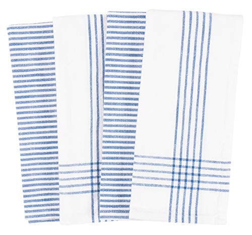 KAF Home Set Of 4 Monaco Relaxed Casual Slubbed Kitchen Towel 100 Cotton Dish Towel 18 X 28 Inches Soft And Absorbent Farmhouse Kitchen Towel Set Of 4 Blue 0 0