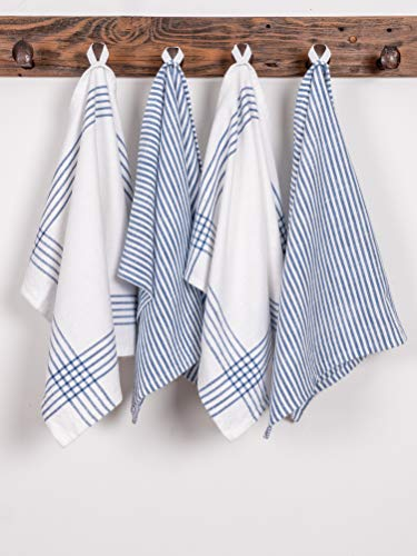 KAF Home Set Of 4 Monaco Relaxed Casual Slubbed Kitchen Towel 100 Cotton Dish Towel 18 X 28 Inches Soft And Absorbent Farmhouse Kitchen Towel Set Of 4 Blue 0 1