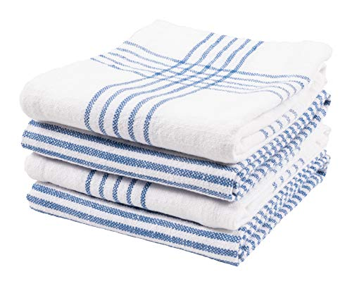 KAF Home Set Of 4 Monaco Relaxed Casual Slubbed Kitchen Towel 100 Cotton Dish Towel 18 X 28 Inches Soft And Absorbent Farmhouse Kitchen Towel Set Of 4 Blue 0