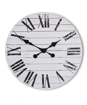 Kaffrey Shiplap Farmhouse Clock White Rustic Decor Living Room Centerpiece Wooden Accent Farmhouse Kitchen Clock Charming Phrase Clocks Black Hardware French Countryside 18 Inch 0 300x360