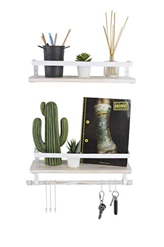 Kaliza Floating Shelves Wall Mounted Shelves Rustic Dcor For Bathroom Bedroom Kitchen Living Room Wooden Storage ShelvesStorage Rack Incredibly Easy To Install 2 PackWhite Renewed 0 0
