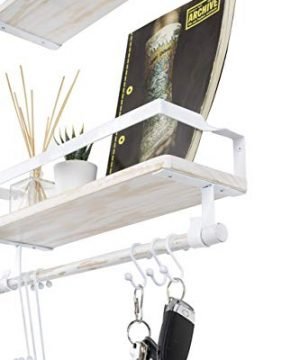 Kaliza Floating Shelves Wall Mounted Shelves Rustic Dcor For Bathroom Bedroom Kitchen Living Room Wooden Storage ShelvesStorage Rack Incredibly Easy To Install 2 PackWhite Renewed 0 1 300x360
