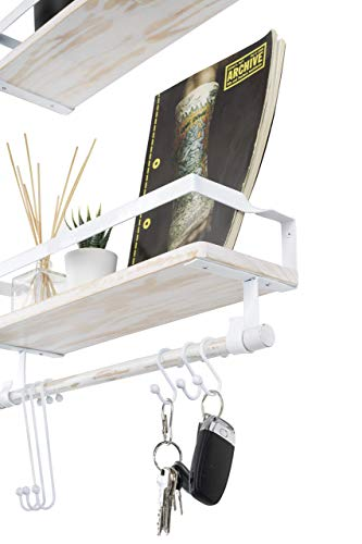 Kaliza Floating Shelves Wall Mounted Shelves Rustic Dcor For Bathroom Bedroom Kitchen Living Room Wooden Storage ShelvesStorage Rack Incredibly Easy To Install 2 PackWhite Renewed 0 1