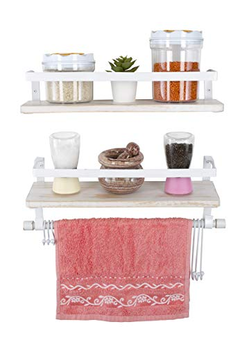 Kaliza Floating Shelves Wall Mounted Shelves Rustic Dcor For Bathroom Bedroom Kitchen Living Room Wooden Storage ShelvesStorage Rack Incredibly Easy To Install 2 PackWhite Renewed 0 2