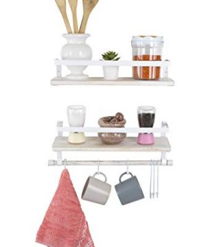 Kaliza Floating Shelves Wall Mounted Shelves Rustic Dcor For Bathroom Bedroom Kitchen Living Room Wooden Storage ShelvesStorage Rack Incredibly Easy To Install 2 PackWhite Renewed 0 3 300x360