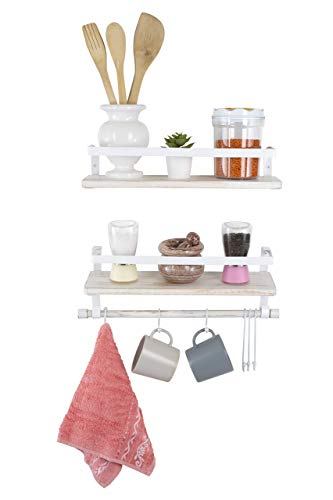 Kaliza Floating Shelves Wall Mounted Shelves Rustic Dcor For Bathroom Bedroom Kitchen Living Room Wooden Storage ShelvesStorage Rack Incredibly Easy To Install 2 PackWhite Renewed 0 3