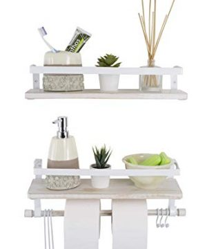 Kaliza Floating Shelves Wall Mounted Shelves Rustic Dcor For Bathroom Bedroom Kitchen Living Room Wooden Storage ShelvesStorage Rack Incredibly Easy To Install 2 PackWhite Renewed 0 300x360