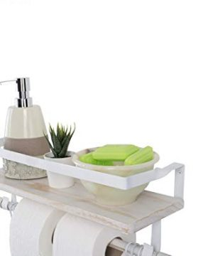 Kaliza Floating Shelves Wall Mounted Shelves Rustic Dcor For Bathroom Bedroom Kitchen Living Room Wooden Storage ShelvesStorage Rack Incredibly Easy To Install 2 PackWhite Renewed 0 5 300x360
