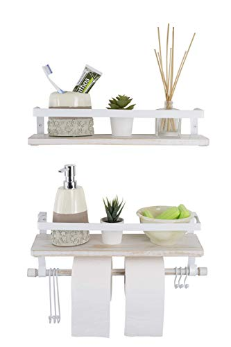 Kaliza Floating Shelves Wall Mounted Shelves Rustic Dcor For Bathroom Bedroom Kitchen Living Room Wooden Storage ShelvesStorage Rack Incredibly Easy To Install 2 PackWhite Renewed 0
