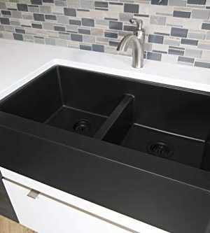 Karran 34 In X 2125 In Black Double Equal Bowl Tall 8 In Or Larger Undermount Apron FrontFarmhouse Residential Kitchen Sink 0 0 300x333