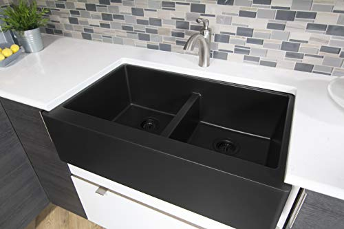 Karran 34 In X 2125 In Black Double Equal Bowl Tall 8 In Or Larger Undermount Apron FrontFarmhouse Residential Kitchen Sink 0 0