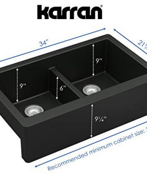 Karran 34 In X 2125 In Black Double Equal Bowl Tall 8 In Or Larger Undermount Apron FrontFarmhouse Residential Kitchen Sink 0 1 300x360