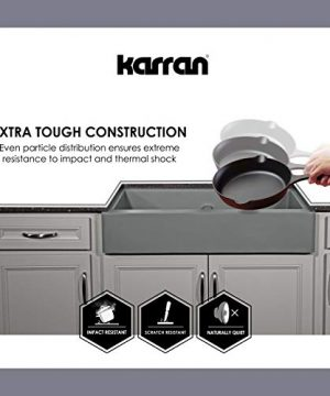 Karran 34 In X 2125 In Black Double Equal Bowl Tall 8 In Or Larger Undermount Apron FrontFarmhouse Residential Kitchen Sink 0 3 300x360