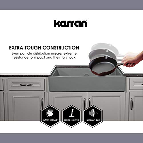 Karran 34 In X 2125 In Black Double Equal Bowl Tall 8 In Or Larger Undermount Apron FrontFarmhouse Residential Kitchen Sink 0 3