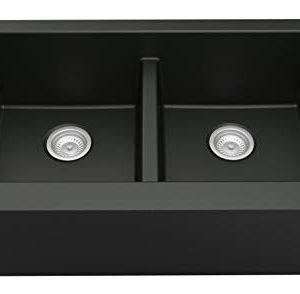 Karran 34 In X 2125 In Black Double Equal Bowl Tall 8 In Or Larger Undermount Apron FrontFarmhouse Residential Kitchen Sink 0 300x294