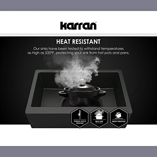 Karran 34 In X 2125 In Black Double Equal Bowl Tall 8 In Or Larger Undermount Apron FrontFarmhouse Residential Kitchen Sink 0 4