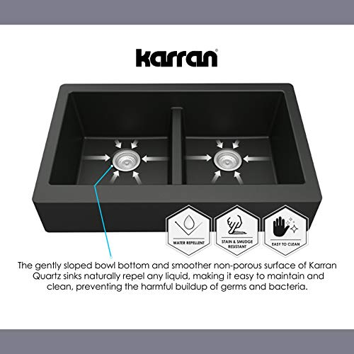 Karran 34 In X 2125 In Black Double Equal Bowl Tall 8 In Or Larger Undermount Apron FrontFarmhouse Residential Kitchen Sink 0 5