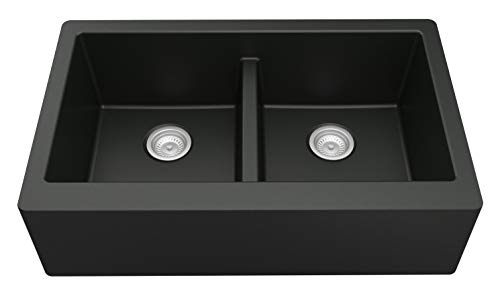 Karran 34 In X 2125 In Black Double Equal Bowl Tall 8 In Or Larger Undermount Apron FrontFarmhouse Residential Kitchen Sink 0