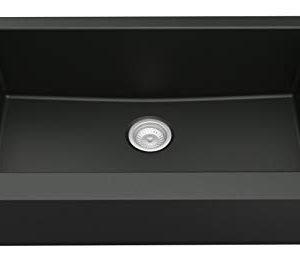 Karran Retrofit FarmhouseApron Front Quartz Composite 34 In Single Bowl Kitchen Sink In Black 0 300x264