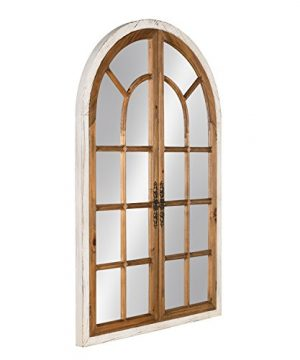 Kate And Laurel Boldmere Wood Windowpane Arch Mirror 28x44 Rustic BrownWhite 0 0 300x360