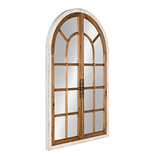 Kate And Laurel Boldmere Wood Windowpane Arch Mirror 28x44 Rustic BrownWhite 0 0