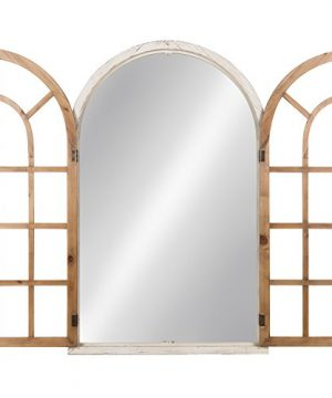 Kate And Laurel Boldmere Wood Windowpane Arch Mirror 28x44 Rustic BrownWhite 0 1 300x360