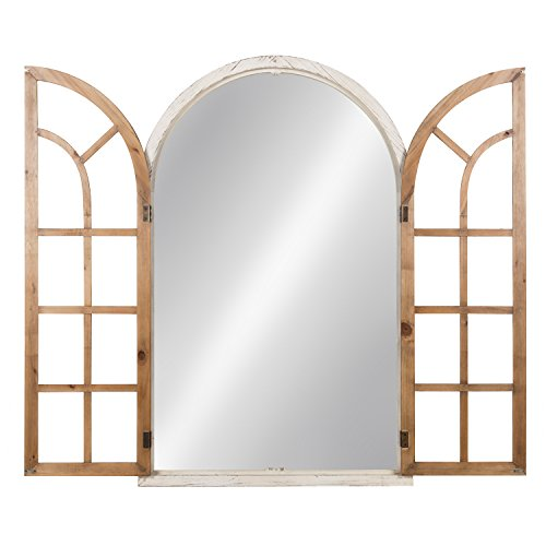 Kate And Laurel Boldmere Wood Windowpane Arch Mirror 28x44 Rustic BrownWhite 0 1