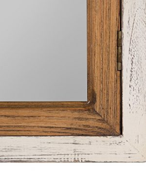 Kate And Laurel Boldmere Wood Windowpane Arch Mirror 28x44 Rustic BrownWhite 0 2 300x360
