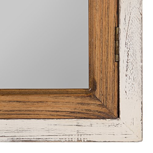Kate And Laurel Boldmere Wood Windowpane Arch Mirror 28x44 Rustic BrownWhite 0 2