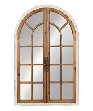 Kate And Laurel Boldmere Wood Windowpane Arch Mirror 28x44 Rustic BrownWhite 0 300x360