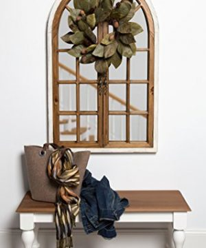 Kate And Laurel Boldmere Wood Windowpane Arch Mirror 28x44 Rustic BrownWhite 0 5 300x360
