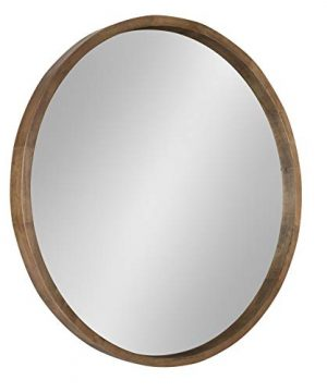 Kate And Laurel Hutton Round Wood Framed Accent Mirror 30 Diameter Rustic Brown 0 300x360