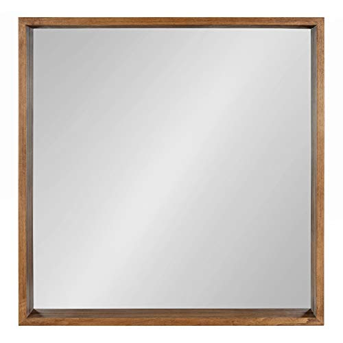 Kate And Laurel Hutton Rustic Wood Square Mirror 30x30 Natural 0 0