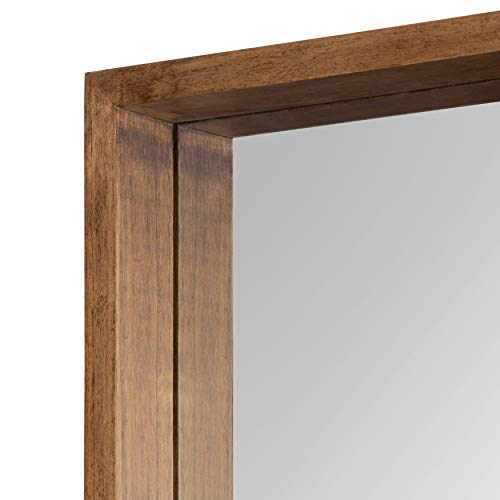 Kate And Laurel Hutton Rustic Wood Square Mirror 30x30 Natural 0 1