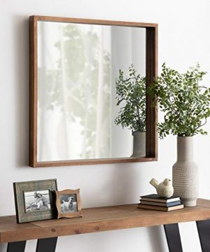 Kate And Laurel Hutton Rustic Wood Square Mirror 30x30 Natural 0 2 300x360