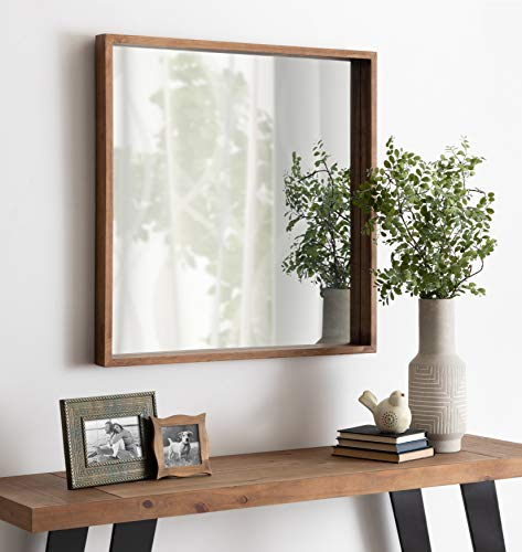 Kate And Laurel Hutton Rustic Wood Square Mirror 30x30 Natural 0 2