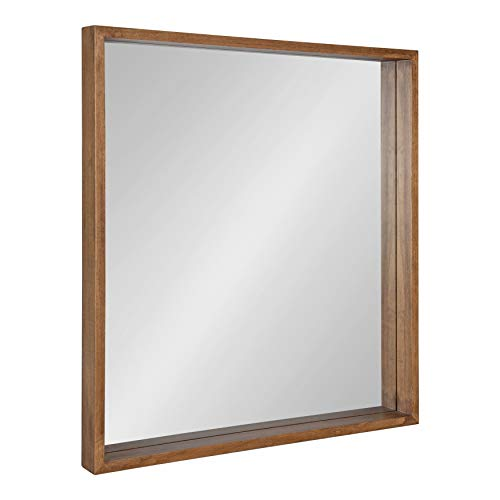 Kate And Laurel Hutton Rustic Wood Square Mirror 30x30 Natural 0
