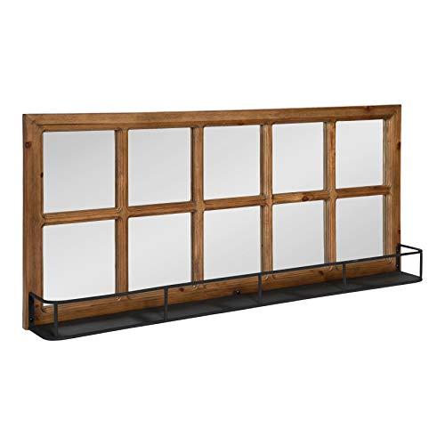 Kate And Laurel Jackson Casual Farmhouse Solid Wood 10 Windowpane Mirror With Distressed Black Metal Shelf 40x18 Farmhouse Goals