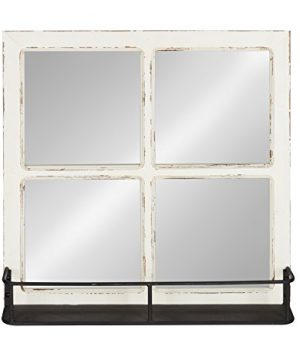 Kate And Laurel Jackson Distressed Wood Windowpane Mirror With Metal Shelf White 0 0 300x360