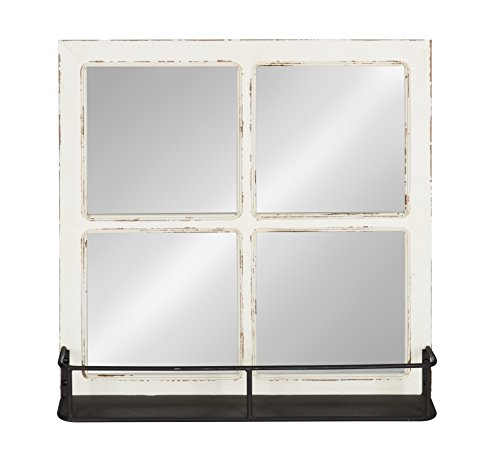 Kate And Laurel Jackson Distressed Wood Windowpane Mirror With Metal Shelf White 0 0