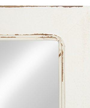 Kate And Laurel Jackson Distressed Wood Windowpane Mirror With Metal Shelf White 0 1 300x360