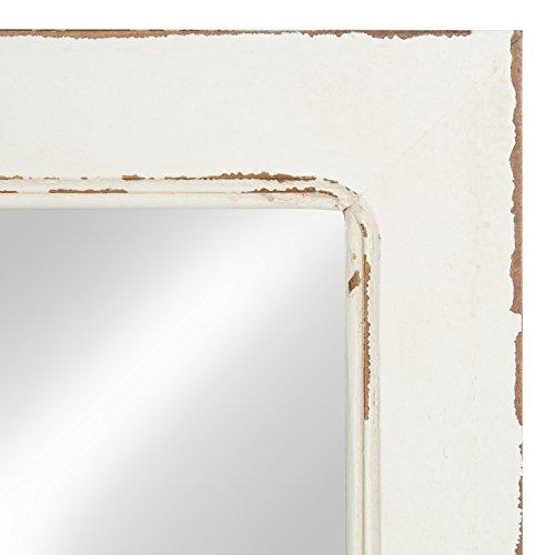 Kate And Laurel Jackson Distressed Wood Windowpane Mirror With Metal Shelf White 0 1