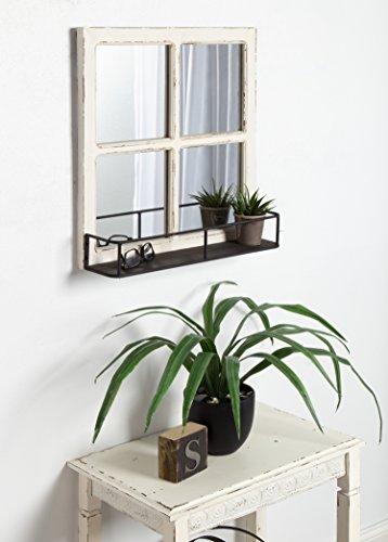 Kate And Laurel Jackson Distressed Wood Windowpane Mirror With Metal Shelf White 0 3