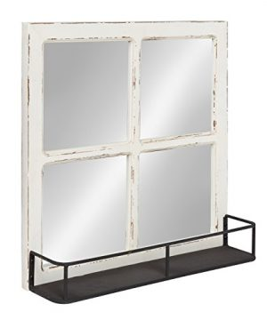 Kate And Laurel Jackson Distressed Wood Windowpane Mirror With Metal Shelf White 0 300x360