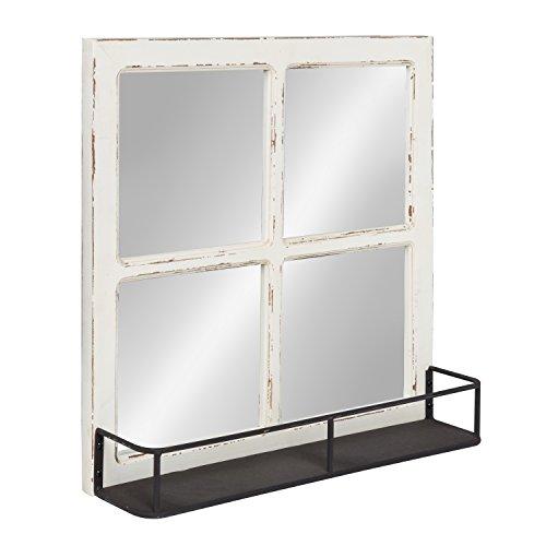 Kate And Laurel Jackson Distressed Wood Windowpane Mirror With Metal Shelf White 0