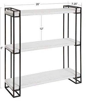 Kate And Laurel Lintz Modern Industrial Wood And Metal Floating Wall Shelves With Black Metal Frame Rustic White 0 0 300x360