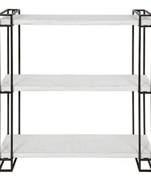 Kate And Laurel Lintz Modern Industrial Wood And Metal Floating Wall Shelves With Black Metal Frame Rustic White 0 1 300x360