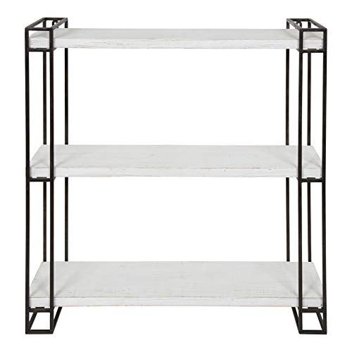 Kate And Laurel Lintz Modern Industrial Wood And Metal Floating Wall Shelves With Black Metal Frame Rustic White 0 1