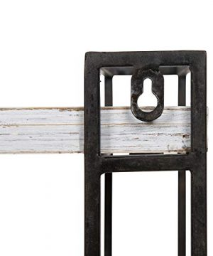 Kate And Laurel Lintz Modern Industrial Wood And Metal Floating Wall Shelves With Black Metal Frame Rustic White 0 2 300x360